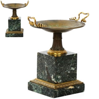 Traditional French Pair of Bronze and Green Marble Tazzas