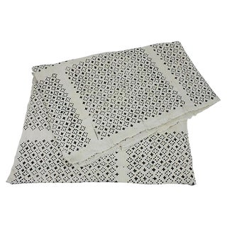 African Mud Cloth White & Black Throw