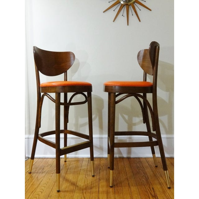 Mid-Century Bentwood Bar Stools - A Pair - Image 3 of 6