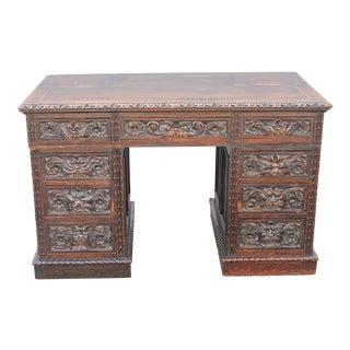 Antique Carved Walnut Writing Desk