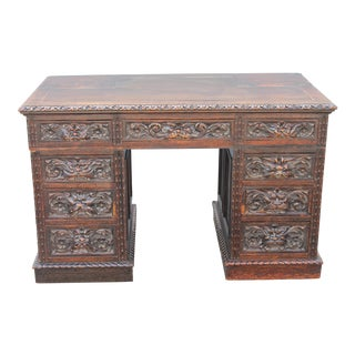 Antique Carved Walnut Writing Desk