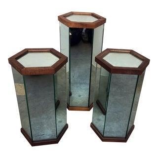 Mirrored Octagon Pedestals - Set of 3