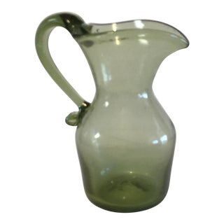 Hand Blown Green Glass Pitcher