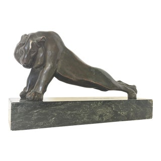 Art Deco Lion Statue on Marble Base