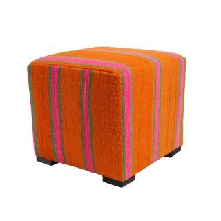 Pink & Orange Kilim Rug Stool