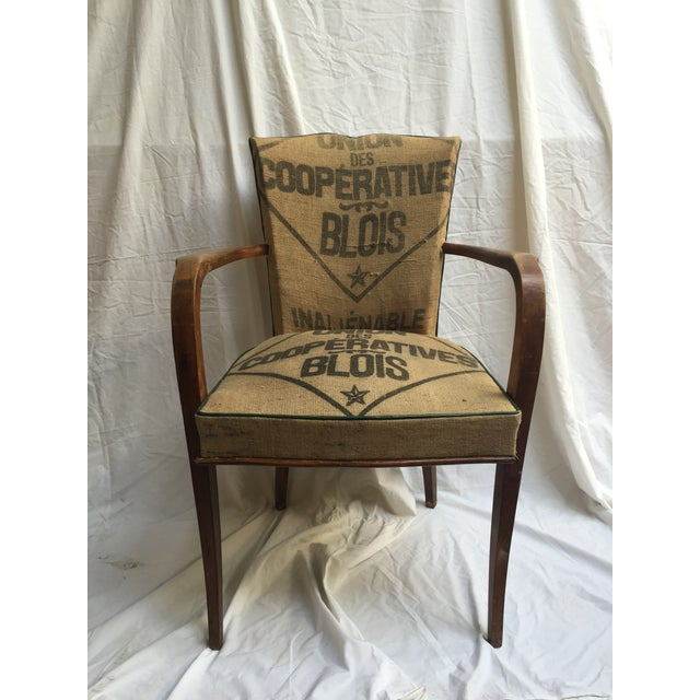 Image of French Chair Reupholstered in Vintage Grain Bag #2