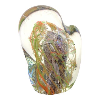ITALIAN AMETHYST GREEN ORANGE MURANO GLASS STONE SCULPTURE BY SALVIATI