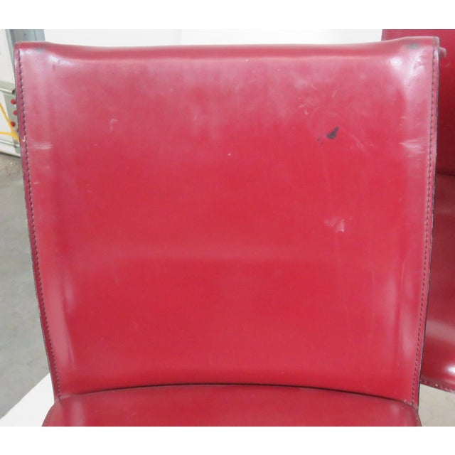 Casillas Red Leather Side Chairs - Set of 6 - Image 3 of 5