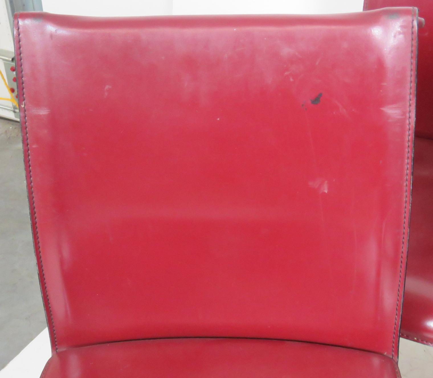 Casillas Red Leather Side Chairs   Set Of 6   Image 3 Of 5