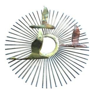 Mid-Century Brass Sunburst Sculpture