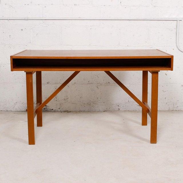 Danish Modern Compact Teak Two Drawer Desk - Image 5 of 6