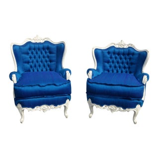 Louis XV Blue Silk & Down His & Hers Chairs - Pair