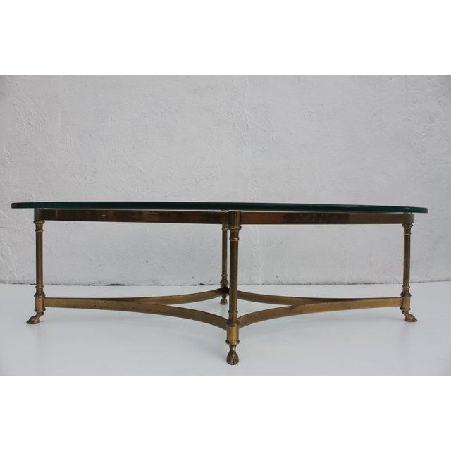 Italian Labarge Brass Hoofed Feet Oval Coffee Table Chairish