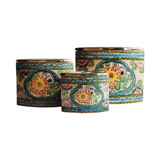 Vintage Handpainted Ceramic Canisters, Set of 3