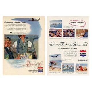 Vintage United Airlines Advertisements - a Pair