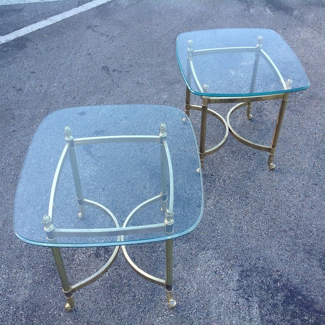 Brass Labarge Hollywood Regency Side Tables a Pair - Image 3 of 6