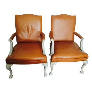 Italian Leather Armchairs with Shabby Chic Frame - A Pair