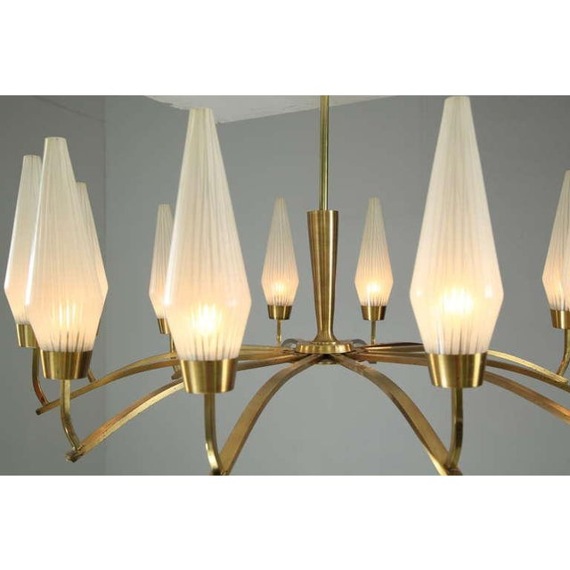 Large Twelve-Arm Brass with Opaline Glass Chandelier, Italy, 1950s - Image 4 of 7