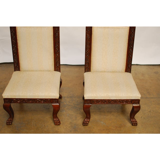 Carved Mahogany Low Wedding Chairs - Pair - Image 2 of 6