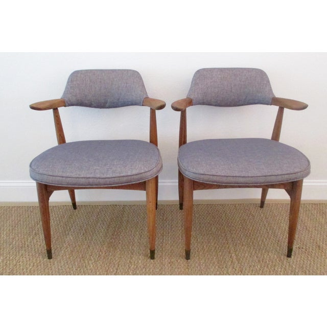 Image of MCM Reupholstered Oak Chairs by Paoli - A Pair