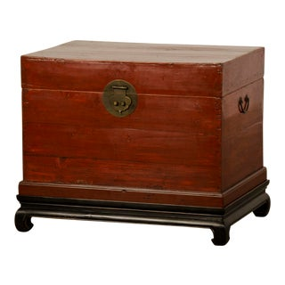 Red Lacquer Antique Chinese Trunk Kuang Hsu Period circa 1875