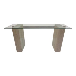 Artedi Console Table in Travertine Brass and Glass