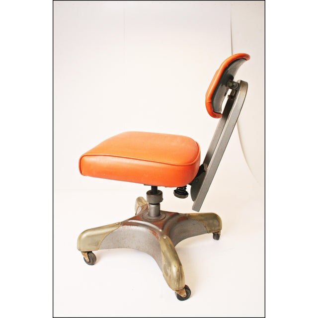 Vintage Orange Industrial Steel Office Chair - Image 8 of 11