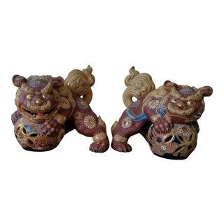 Vintage Japanese Gilt Morage Porcelain Foo Dogs - a Pair