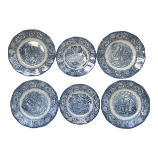 Liberty Blue Staffordshire Transfer Ware - Set of 6