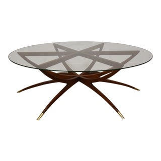Walnut and Glass Spider Leg Coffee Table