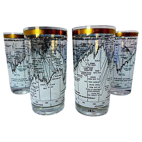 Neiman Marcus Stock Market Glasses - Set of 6 - Image 1 of 6
