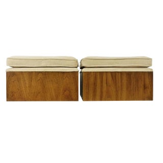 Drexel Modernist Square Benches on Casters - a Pair