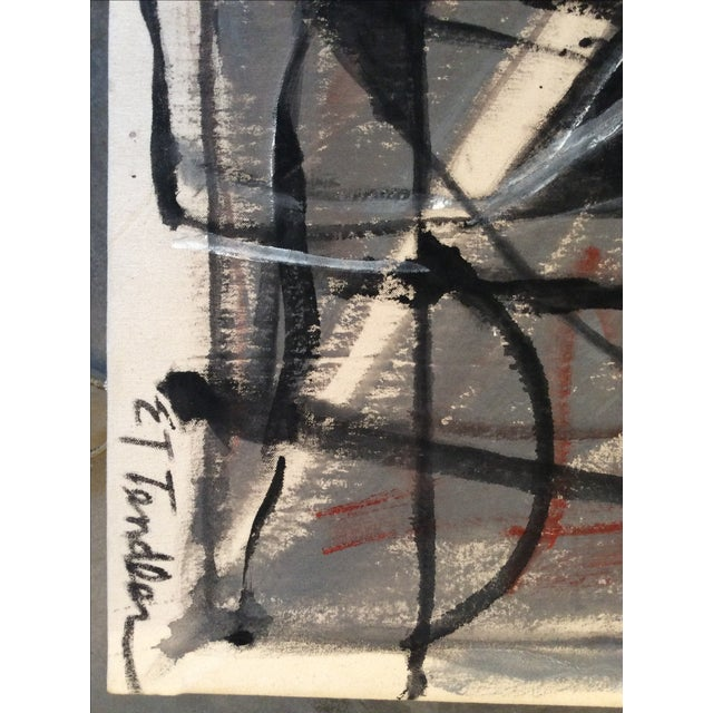 Mid-Century Modern Style Abstract Painting - Image 3 of 5