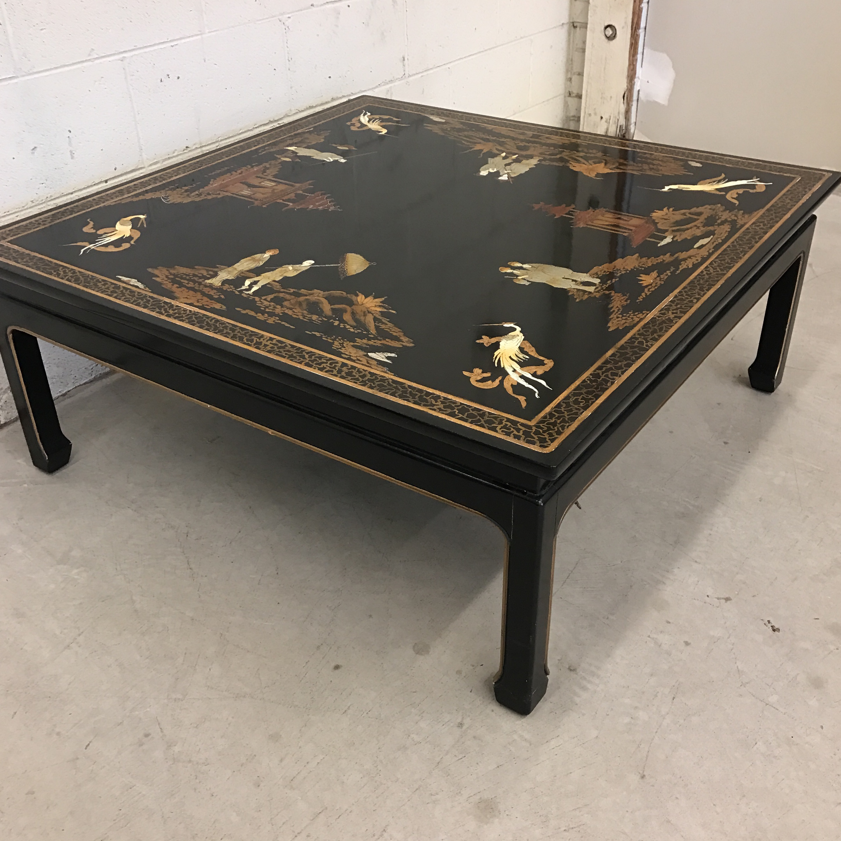 Vintage Asian Style Black Hand Painted Coffee Table   Image 4 Of 11