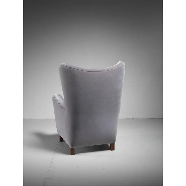 Fritz Hansen High Wingback Grey Velour Lounge Chair, Denmark, 1940s - Image 5 of 5