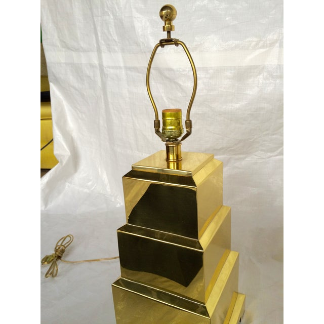 Image of F. Cooper Brass Pagoda Lamps - Pair