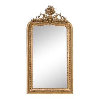Antique French Louis Philippe Louis XVI Gold Leaf Mirror circa 1890 (34″ wide x 64″ high)