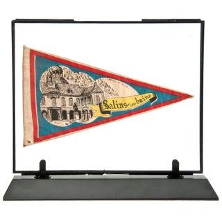 Framed Vintage French Salins Les Bains Pennant