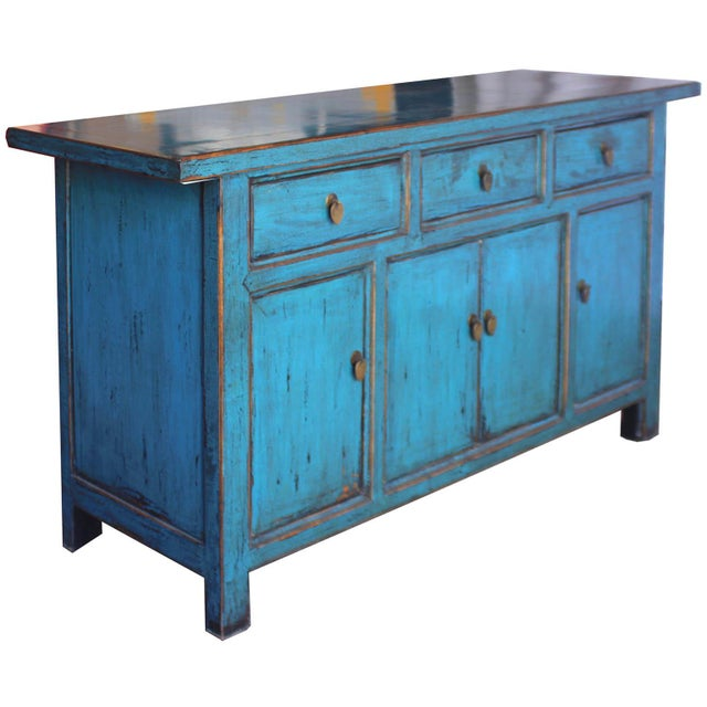 Blue Reclaimed Elm Wood Sideboard - Image 2 of 8