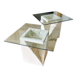 Stone & Glass End Tables- A Pair