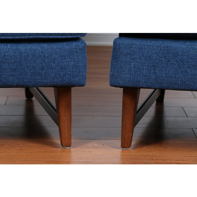 Mid-Century Blue Tufted Lounge Chairs - A Pair - Image 4 of 7
