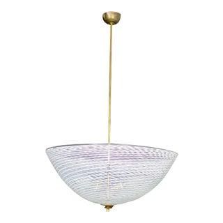 Murano Blown Glass White Brass Pendant Lamp