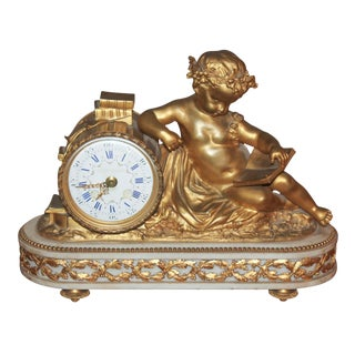 French Cherub Form Mantel Clock