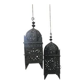 black Moroccan Iron Kasbah hanging Lantern