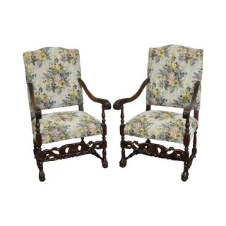 Antique French Louis XIII Style Carved Walnut Throne Chairs - A Pair