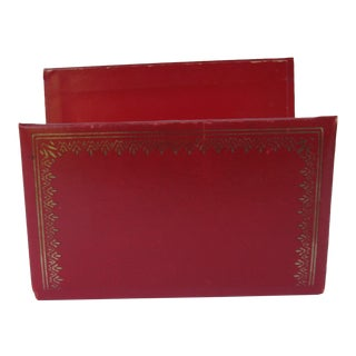 Vintage Red Leather Letter Holder