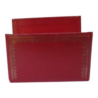 Vintage Red Leather Letter Holder