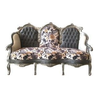 Antique Gray Floral Sofa Settee
