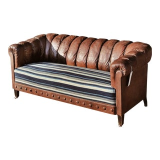 Leather & Indigo Chesterfield Sofa