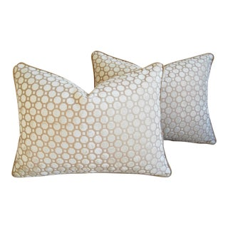 White Cut Velvet Geometric Pillows - A Pair